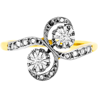 Vintage Crossover Diamond Ring in 18ct Yellow Gold | Toi Et Moi Ring