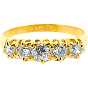 Late Victorian Five Old Cut Diamond Ring in 18ct Gold   Antique Half Eternity Band