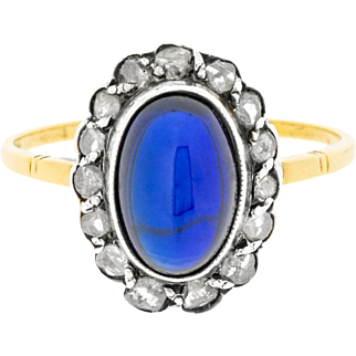 Striking Late Victorian Sapphire Gemstone and Diamond Cluster Ring 14ct Yellow Gold & Silver