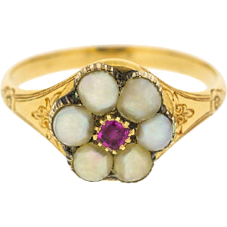 Charming Victorian Split Pearls and Ruby Gemstone Daisy Flower Ring in 14ct Yellow Gold | Womens Antique Jewellery
