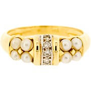 Pearl & Diamond Ring in Two Colours 18ct Gold