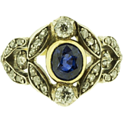 Amazing Late Victorian Sapphire Gemstone and Diamond Floral motif Statement Ring in 14ct Yellow Gold