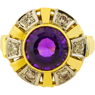 Large Amethyst and Diamond Vintage Cocktail Ring  in 14ct Gold