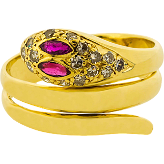 Ruby Eyes and Diamond Head Snake Coil Ring in 14ct Yellow Gold