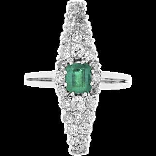Revival Emerald and Old Cut Diamonds Lozenge Ring