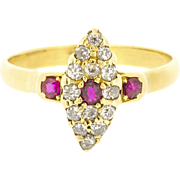 Marvelous Victorian Navette Shaped Old European Cut Diamonds and Ruby Accents | Antique Engagement Ring