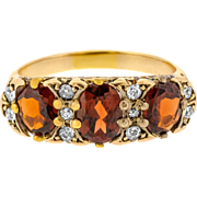 Superb Three Garnet and Diamond Edwardian Ring with Ornate Bridge in 18ct Yellow Gold
