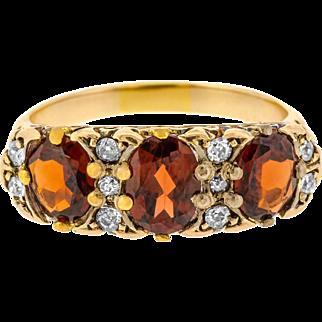 Superb Three Garnet and Diamond Edwardian Ring with Ornate Bridge in 18ct Yellow Gold