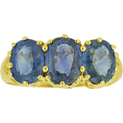 1905 Sapphire Trilogy Ring in 18ct Yellow Gold