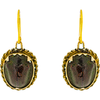 RARE Antique Victorian Earrings, REAL Scarab Beetle set in 9k Gold