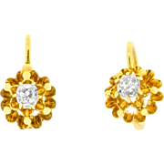 Alluring Victorian Buttercup Earrings with Old Mine Cut Diamonds in 14ct Yellow Gold | Womens Antique Jewellery