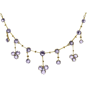Marvelous Amethyst Gemstone Edwardian Negligee Necklace in 9ct Gold