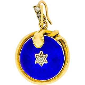 Vibrant Victorian Sentimental Pendant with Coiled Snake and Blue Enamel in 14ct Gold | Womens Antique Enamel Pendant