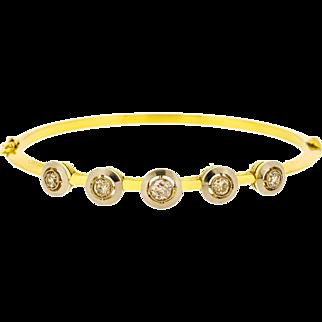 Mid 20th Century Vintage Five Diamond Halo Bracelet in 18ct Gold