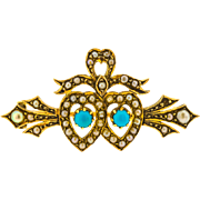 Marvelous Antique Victorian Turquoise and Seed Pearl Twin Heart Brooch in 15ct Yellow Gold