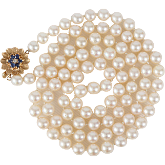 Opera Length Cultured Pearl Necklace with 14k Gold, Sapphire & Diamond Clasp