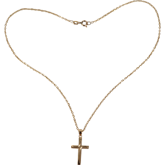 14k Cross on 14k Yellow Gold Chain Vintage