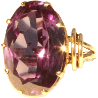 Exceptional Color Changing Corundum Vintage 10k Yellow Gold Ring Faux Alexandrite