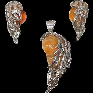 Artisan Opal & Sterling Silver Earrings & Pendant Set