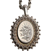 Antique Victorian Sterling Silver Locket with Chain
