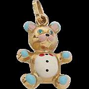 18K Gold & Enamel Bear Charm - Pendant