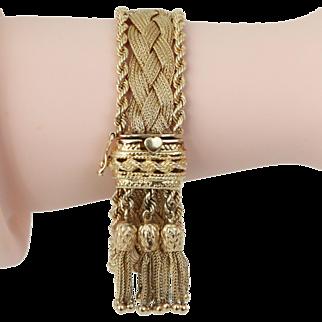 Victorian Revival 14k Yellow Gold Weaved Bracelet