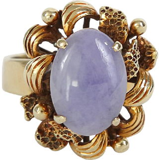 Lavender Jade Ring in Heavy 14k Yellow Gold Unique Flower Setting