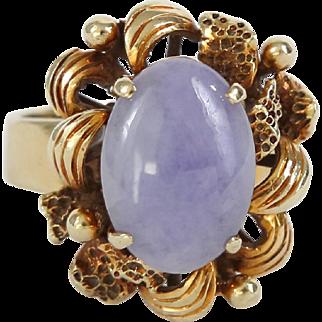 Lavender Jade & 14k Yellow Gold Ring
