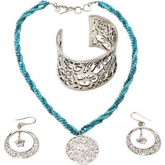 Lois Hill for Tommy Bahama Sterling Silver Earrings, Necklace & Cuff Bracelet
