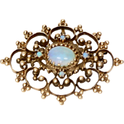 Victorian 14k Yellow Gold & Opal Pendant/Brooch-Pin