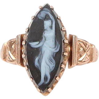 Hand-Carved Hard-Stone Cameo, 14k Rose Gold Ring