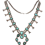Navajo Turquoise & Sterling Silver Squash Blossom Necklace 1960's Large Untreated Native American Turquoise