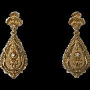 Victorian Style 14k Yellow Gold & Diamond Drop Earrings