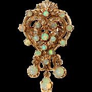 Australian Opal & Diamond Pendant/Brooch-Pin set in 14k Gold