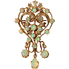 Australian Opal & Diamond Pendant/Brooch-Pin in 14k Yellow Gold Swirl Design with Opal Drop