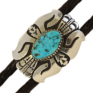 Thomas Singer Sterling Silver Sleeping Beauty Turquoise Hand Crafted Navajo Vintage Bolo Tie