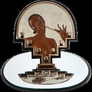 """Erté  """"Vanity"""" Table Mirror Cold Painted Bronze Art Sculpture in Art Deco Style Erte Bronze Mirror"""