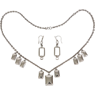 Movado Sterling Silver Necklace & Earrings Set Vintage Movado Boutique Jewelry