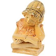Plaster Bust of Girl Reading A Book Traditional French Chalk-ware Early 1900's