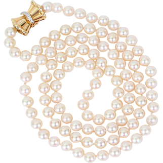 Currently on hold for Susan - Opera Length Cultured Pearl Necklace with 14k Gold & Diamond Clasp