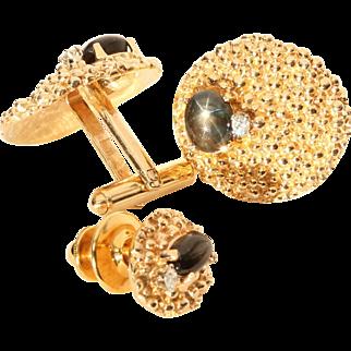 Cufflinks & Tie-Tac, Star Sapphire, Diamond, & 14k Yellow Gold by Kessler Brothers, Mid Century Modern Gold Cufflinks