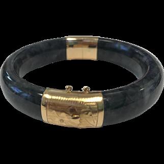 Vintage Black Jade and 14K Gold Bracelet