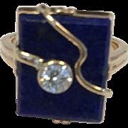 14K Yellow Gold Cobalt Blue Lapis Lazuli Ring with diamond accent