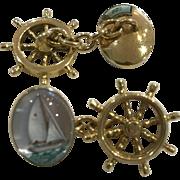 Vintage 18k Nautical Sailboat Chainlink Cufflinks