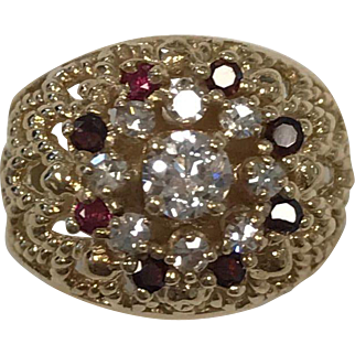Estate 14Kt Yellow Gold  Ruby and Diamond Cathedral Ring