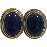 Vintage 14k Yellow Gold Lapis Lazuli Earrings