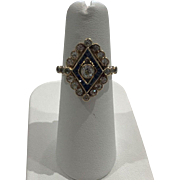 Antique Art Deco 14k Rose Gold Diamond and Sapphire Ring