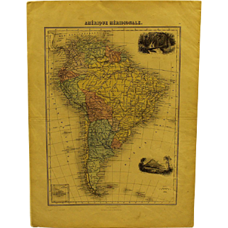 Mid 19th century Map of South America