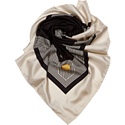 Chanel CC logo White and Black Silk Scarf-Authentic-Preloved