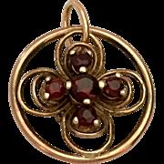 Antique Bohemian Garnet 9 karats Gold Pendant